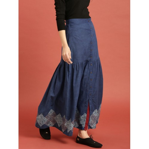 Taavi Blue Cotton  Block Print Legacy A-Line Maxi Skirt