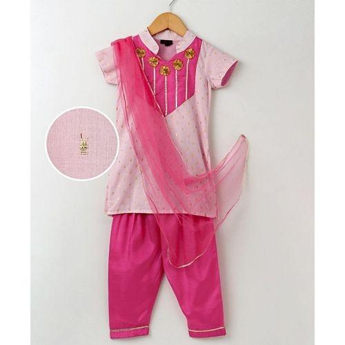 Pspeaches Stand Collar Kurta & Salwar With Dupatta Set - Pink