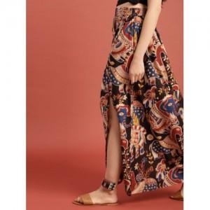 Taavi Black & Maroon Cotton Kalamkari Hand Block Print Ethnic Maxi Skirt