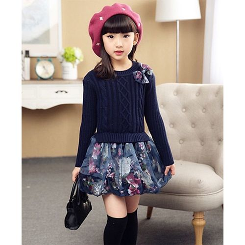 Awabox Floral Print Full Sleeves Dress Navy