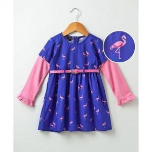 Pspeaches Flamingo Print Full Sleeves Dress - Blue