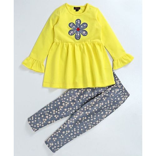 Pspeaches Flower Design Top With Floral Print Leggings Set - Grey & Yellow