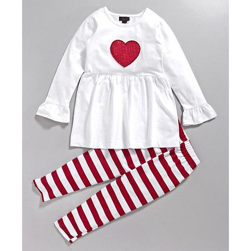 Pspeaches Red & White Heart Design Top & Striped Leggings Set