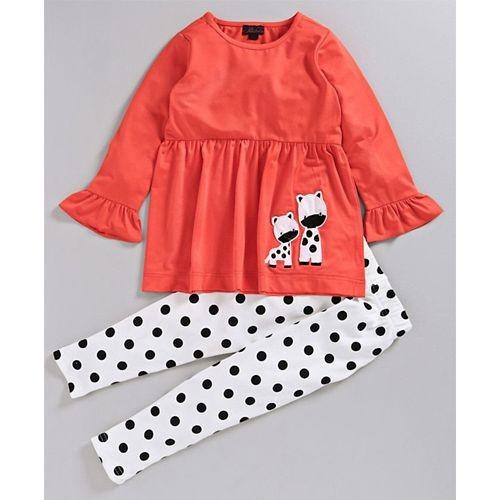Pspeaches Orange & White Full Sleeves Animal Patch Top & Polka Dot Printed Leggings Set