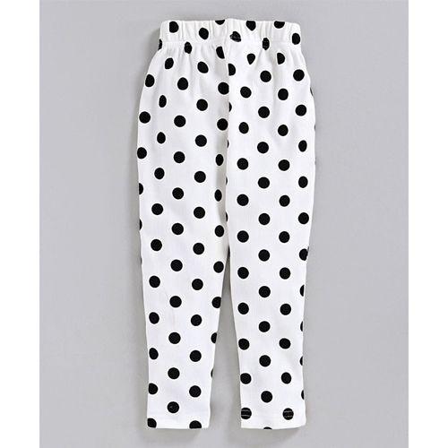 Pspeaches Full Sleeves Animal Patch Top & Polka Dot Printed Leggings Set - Orange & White