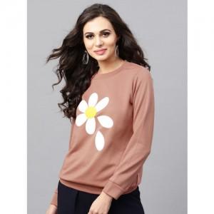 SASSAFRAS Women Dusty Pink Printed Sweatshirt