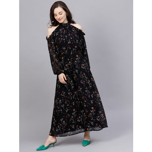 STREET 9 Black Printed Cold-Shoulder Maxi Dress