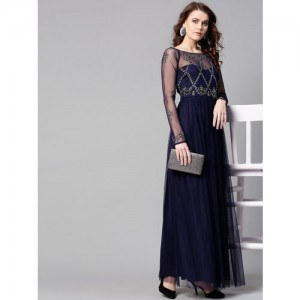 STREET 9 Navy Blue Embellished Detail Net Maxi Dress