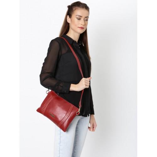 Addons Maroon Polyurethane Solid Sling Bag