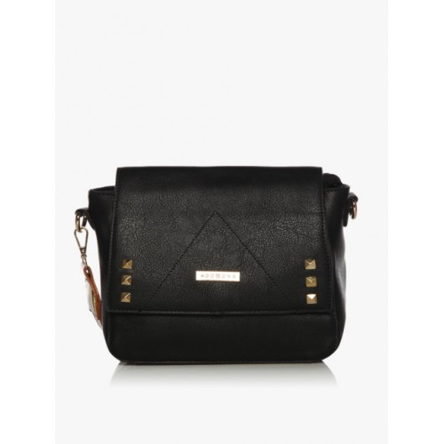 Addons Black Polyurethane Sling Bag