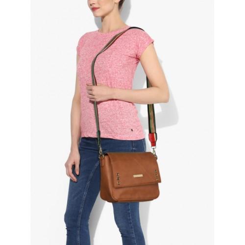 Addons Tan Polyurethane Sling Bag