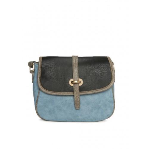 Addons Black & Blue Colourblocked Textured Sling Bag