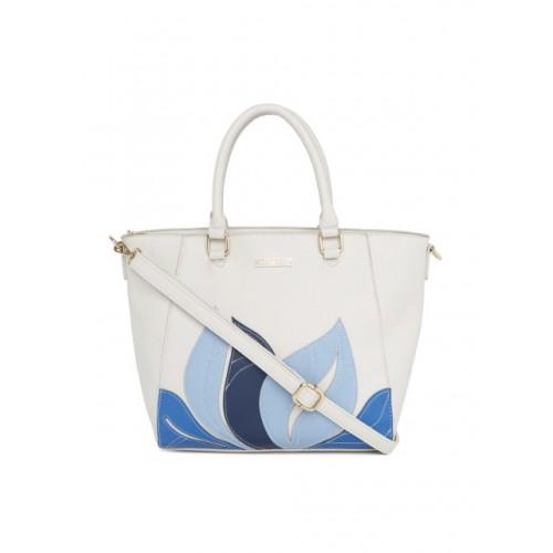 Addons White & Blue Self Design Shoulder Bag
