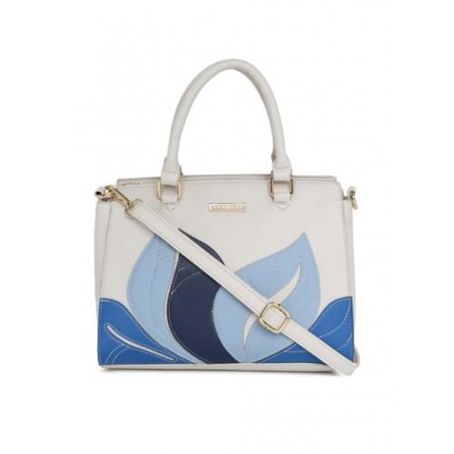 Addons Off-White & Blue Self Design Handheld Bag