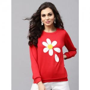 SASSAFRAS Women Red Printed Sweatshirt