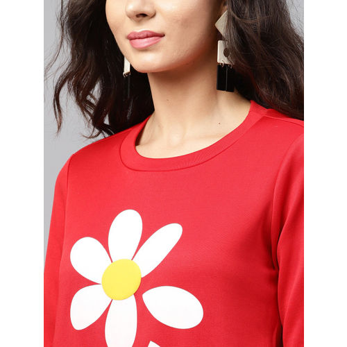 SASSAFRAS Women Red Printed Sweatshirt