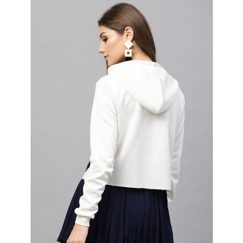 SASSAFRAS Women Off-White Solid Hooded Sweatshirt