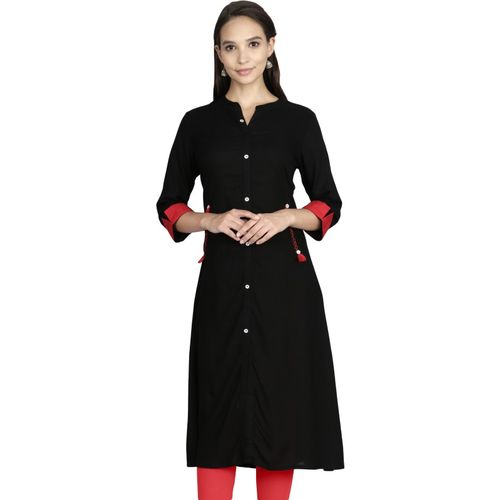 Alena Women's Solid Straight Kurta(Black)