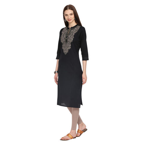 Alena Women Black Embroidered Straight Kurta