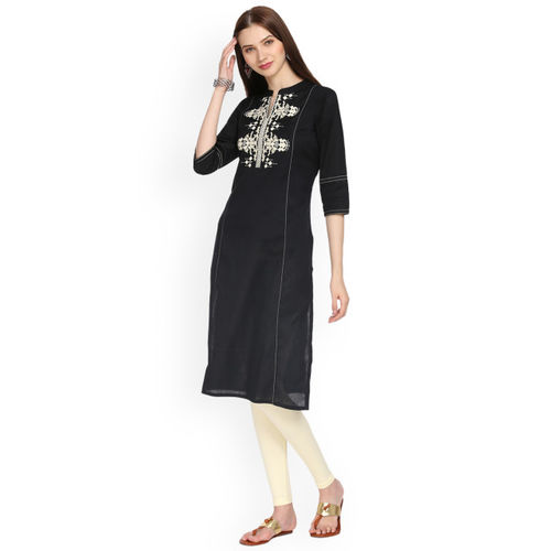 Alena Women Black Embroidered Linen Straight Kurta
