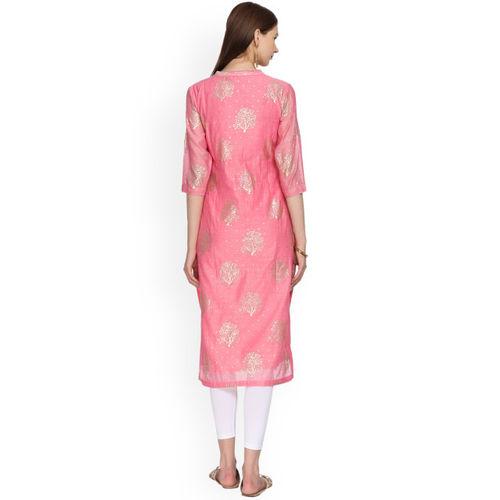 Alena Women Pink Printed Straight Kurta