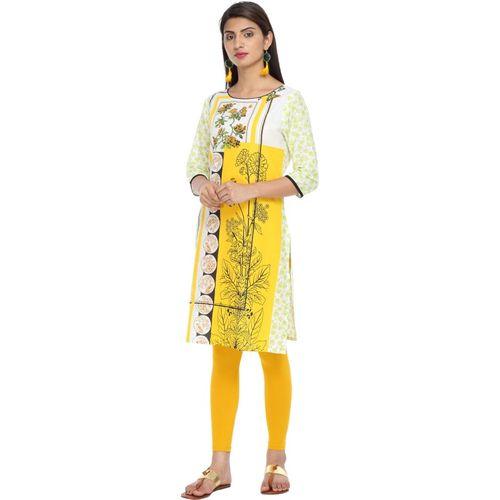 Alena Women's Solid Straight Kurta(Yellow)