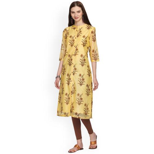 Alena Women Yellow Printed Straight Kurta