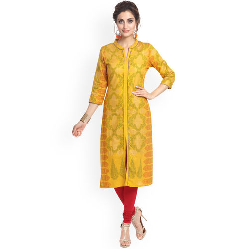 Alena Women Mustard Yellow Printed Straight Kurta