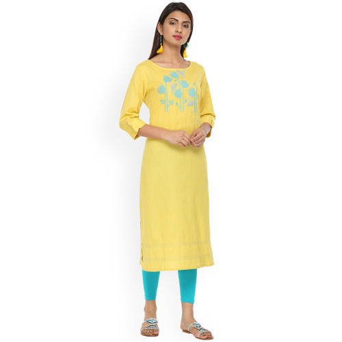 Alena Women Yellow Embroidered Straight Kurta