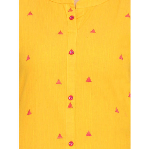 Alena Women Mustard Yellow Woven Design Straight Kurta