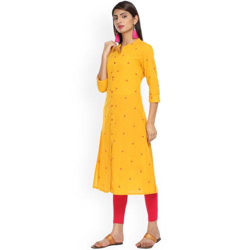 Alena Women Mustard Yellow Woven Design Straight Kurta