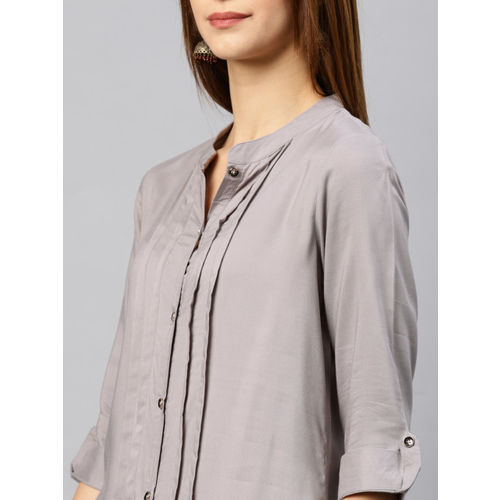 Alena Women Grey Woven Design Straight Kurta