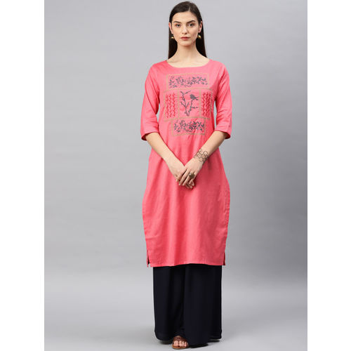 Alena Women Coral Embroidered Straight Kurta