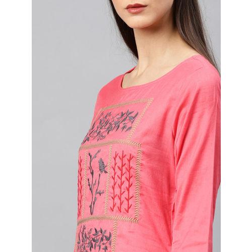 Alena Women Coral Embroidered Straight Kurta