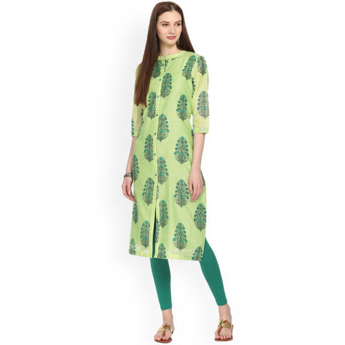 Alena Women Lime Green Printed Straight Kurta