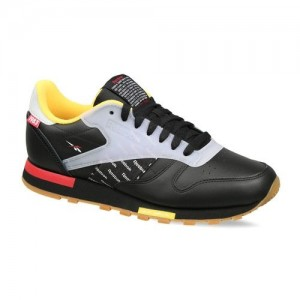Reebok Classic Boys Black & Off-White Classic Leather Altered Colourblocked Sneakers