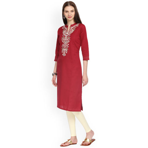 Alena Women Maroon Embroidered Straight Kurta