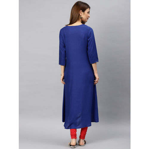 Alena Women Blue Yoke Design A-Line Kurta