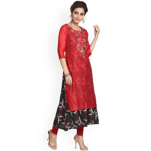 Alena Women Red & Black Embroidered A-Line Kurta