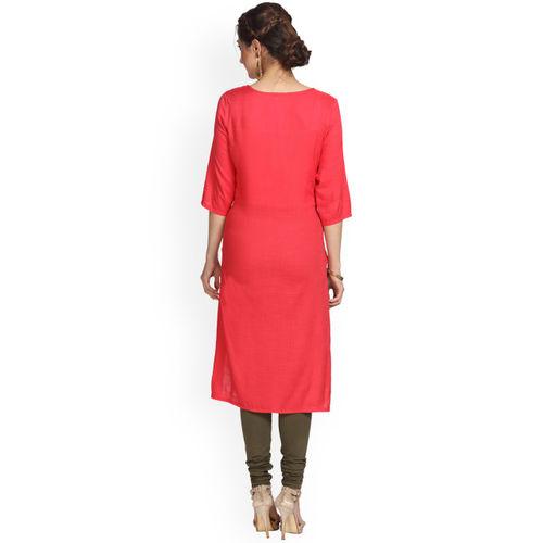 Alena Women Red Printed Straight Kurta