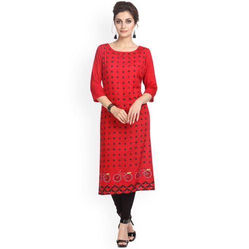 Alena Women Red Printed Straight Kurta