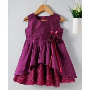 Pspeaches High Low Lace Design Dress - Wine