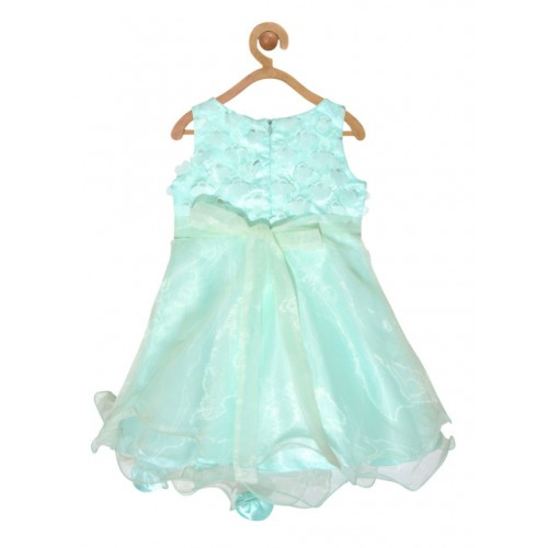pspeaches Girls Sea Green Self Design Fit and Flare Dress