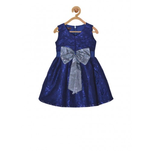 pspeaches Girls Blue Self Design Fit and Flare Dress