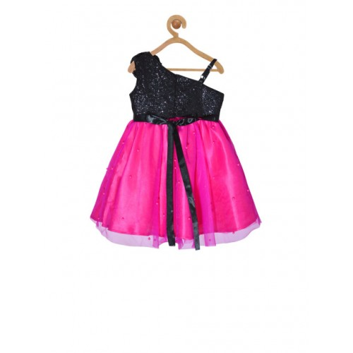 pspeaches Girls Magenta Embellished Fit and Flare One-Shoulder Dress