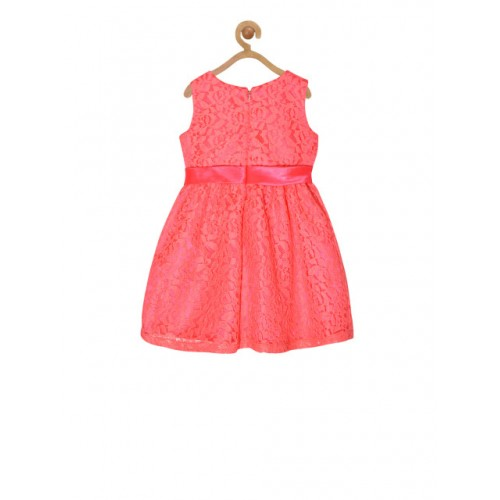 pspeaches Girls Pink Self Design Fit and Flare Dress