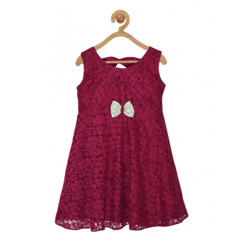 pspeaches Girls Burgundy Self Design Fit and Flare Dress
