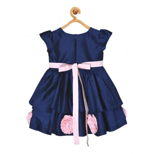 pspeaches Girls Navy Blue Solid Fit and Flare Dress