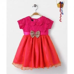 pspeaches Girls Orange & Magenta Embellished Fit and Flare Dress