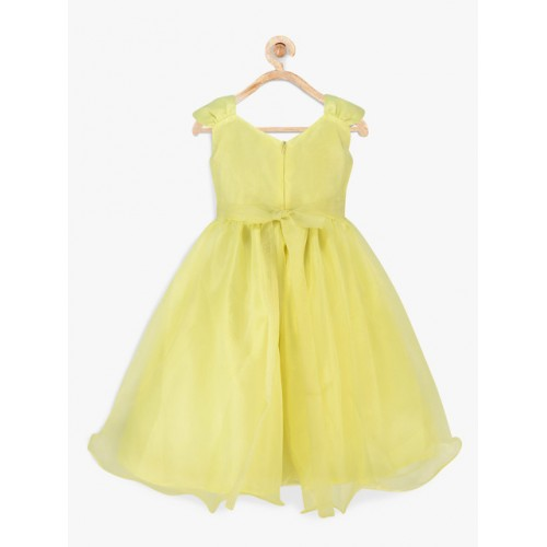 pspeaches Girls Yellow Fit & Flare Dress